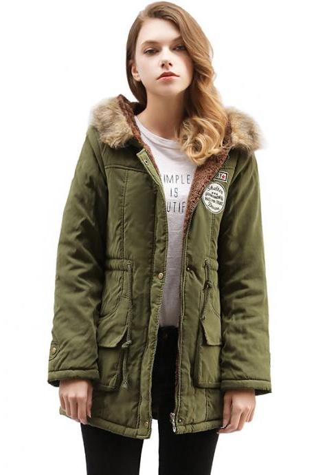 Winter Women Cotton Coat Parka Casual Military Hooded Thicken Warm Long Slim Female Jacket Outwear army green