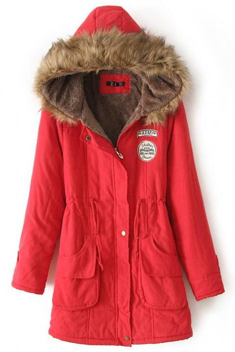 Winter Women Cotton Coat Parka Casual Military Hooded Thicken Warm Long Slim Female Jacket Outwear red
