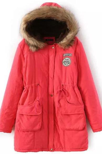 Winter Women Cotton Coat Parka Casual Military Hooded Thicken Warm Long Slim Female Jacket Outwear watermelon red