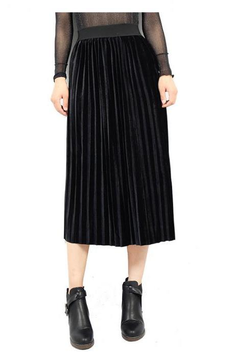 Women Velvet Pleated Skirt Autumn Winter Elastic High Waist Streetwear European Style Casual Midi Skirt black