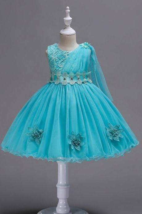 Lace Flower Girl Dress Sleeveless Kids Bridesmaid Formal Party Tutu Gowns Children Clothes blue
