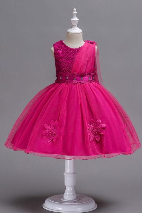 Lace Flower Girl Dress Sleeveless Kids Bridesmaid Formal Party Tutu Gowns Children Clothes hot pink