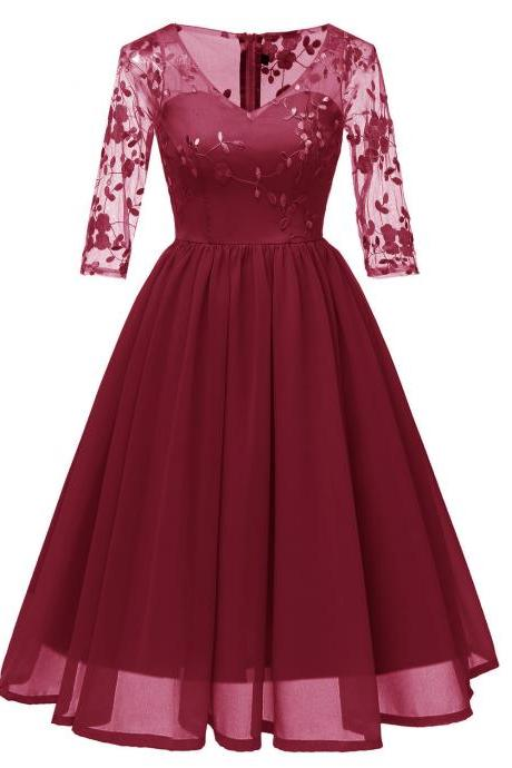 Embroidery Women Casual Dress V Neck 3/4 Sleeve Lace Slim A-Line Work Office Party Dress burgundy