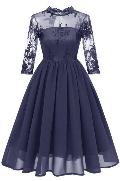 Embroidery Women Casual Dress Lace High Neck 3/4 Sleeve Hollow Out Slim A-Line Work Office Party Dress navy blue