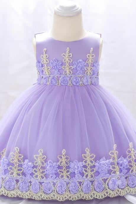 Newborn Baby Flower Girl Dress Floral Lace Baptism Birthday Party Ball Gown Children Clothes lilac