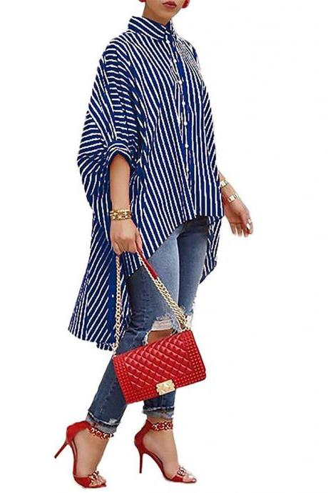 Women Striped Printed Shirt Asymmetrical Half Batwing Sleeve Button Turn-down Collar Casual Loose Blouse blue