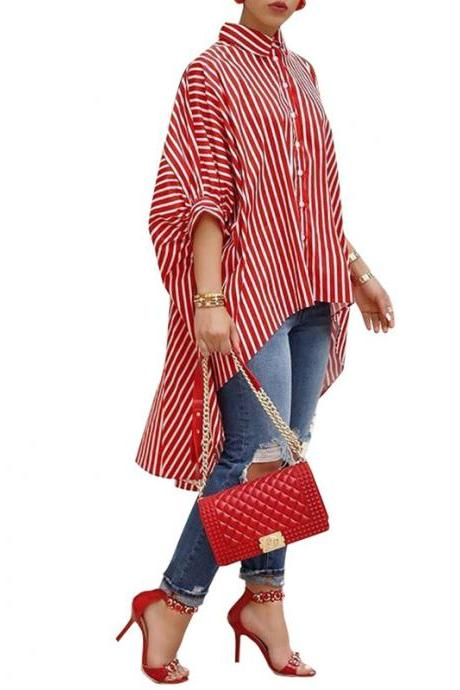 Women Striped Printed Shirt Asymmetrical Half Batwing Sleeve Button Turn-down Collar Casual Loose Blouse red