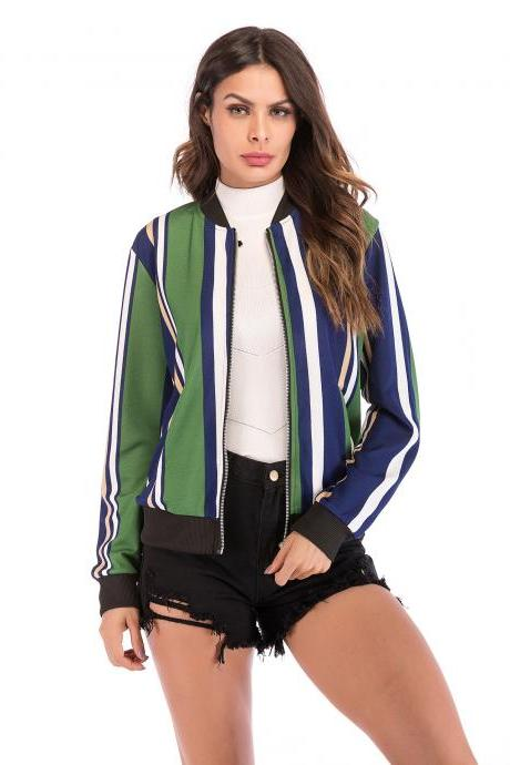 Women Baseball Uniform Coat Crane/Floral/Striped Printed Autumn Long Sleeve Zipper Casual Slim Jacket Outerwear 5#