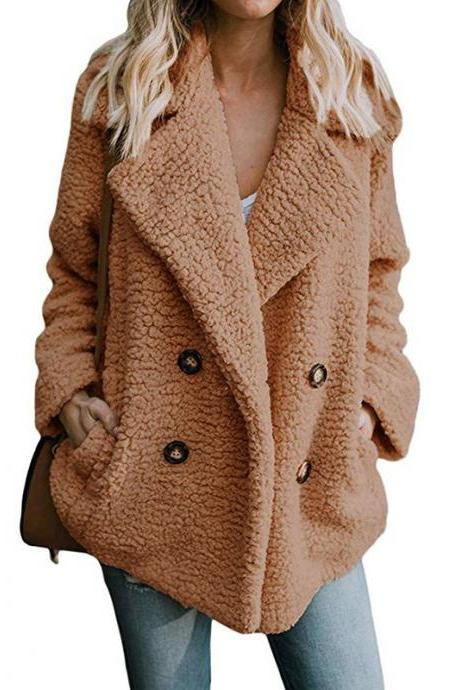 Women Faux Lambswool Coat Autumn Winter Double Breasted Pockets Suit Collar Long Sleeve Casual Loose Warm Jacket Outwear camel