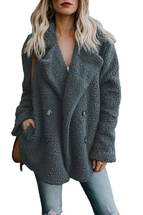 Women Faux Lambswool Coat Autumn Winter Double Breasted Pockets Suit Collar Long Sleeve Casual Loose Warm Jacket Outwear dark gray