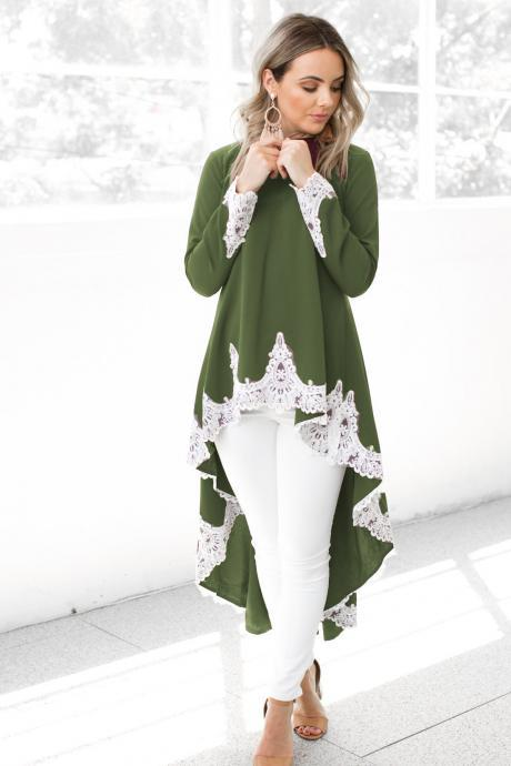 Women Asymmetrical Dovetail Dress Autumn Casual Long Sleeve Lace Patchwork High Low Party Dress green