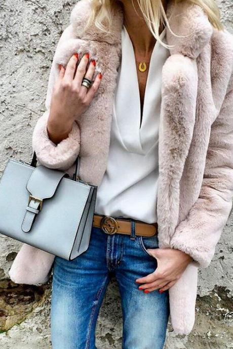 Woman Faux Fur Coat Winter Warm Long Sleeve Lapel Neck Casual Long Jacket Outwear light pink