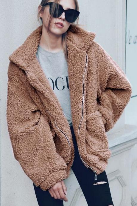 Women Faux Fur Coat Winter Turn-down Collar Thick Warm Casual Long Sleeve Plush Jacket Outwears camel