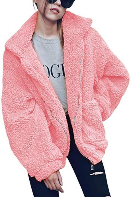 Women Faux Fur Coat Winter Turn-down Collar Thick Warm Casual Long Sleeve Plush Jacket Outwears pink