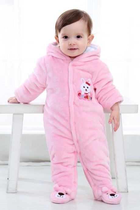 Infant Kids Baby Boys Girls Flannel Jumpsuit Autumn Winter Cute Warm Hooded Long Sleeve Cartoon Romper Outfits pink solid