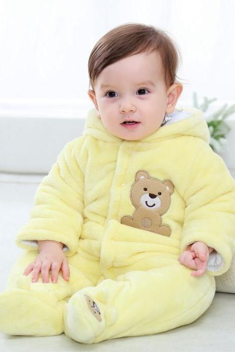 Infant Kids Baby Boys Girls Flannel Jumpsuit Autumn Winter Cute Warm Hooded Long Sleeve Cartoon Romper Outfits yellow solid