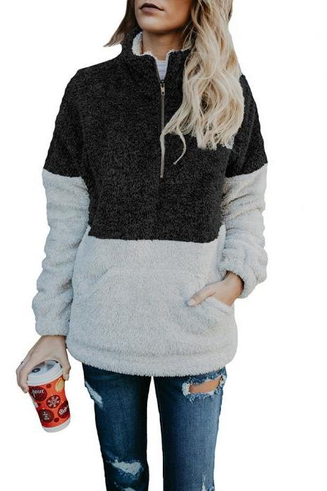 Women Sweatshirt Autumn Winter Warm Turtleneck Long Sleeve Pocket Patchwork Zipper Casual Loose Pullover Tops black