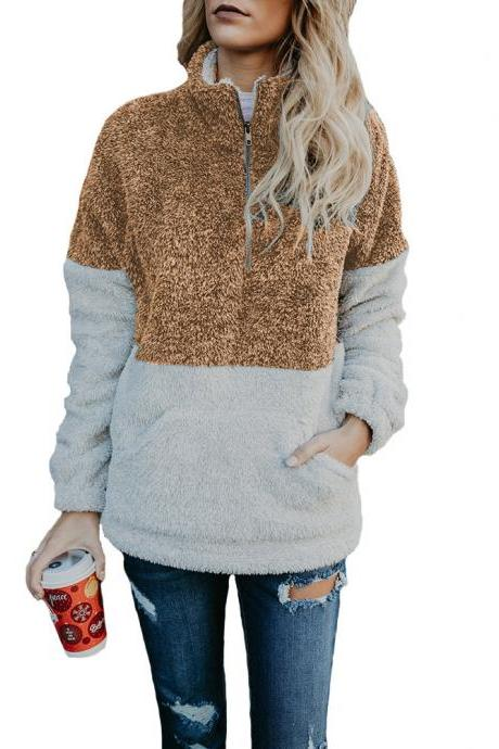 Women Sweatshirt Autumn Winter Warm Turtleneck Long Sleeve Pocket Patchwork Zipper Casual Loose Pullover Tops brown