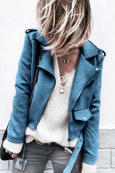 Women Faux Suede Jacket Autumn Long Sleeve Slim Matte Motorcycle Biker Coat Outerwear blue