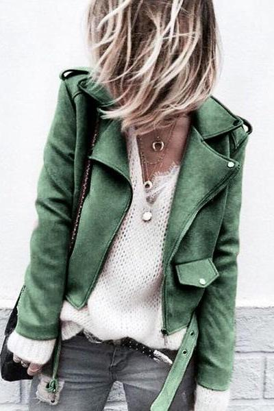 Women Faux Suede Jacket Autumn Long Sleeve Slim Matte Motorcycle Biker Coat Outerwear green