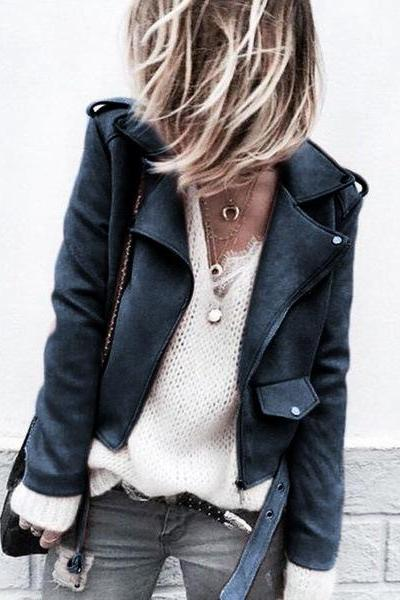 Women Faux Suede Jacket Autumn Long Sleeve Slim Matte Motorcycle Biker Coat Outerwear navy blue