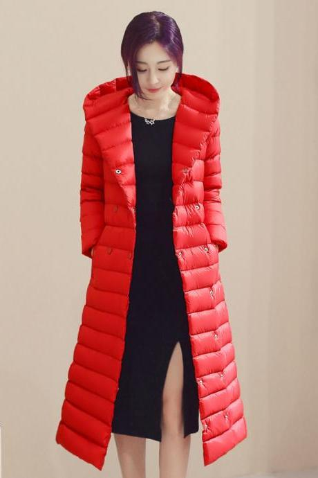 Women Long Duck Down Coat Hooded Long Sleeve Plus Size Slim Winter Ultra Light Jacket Outwear red