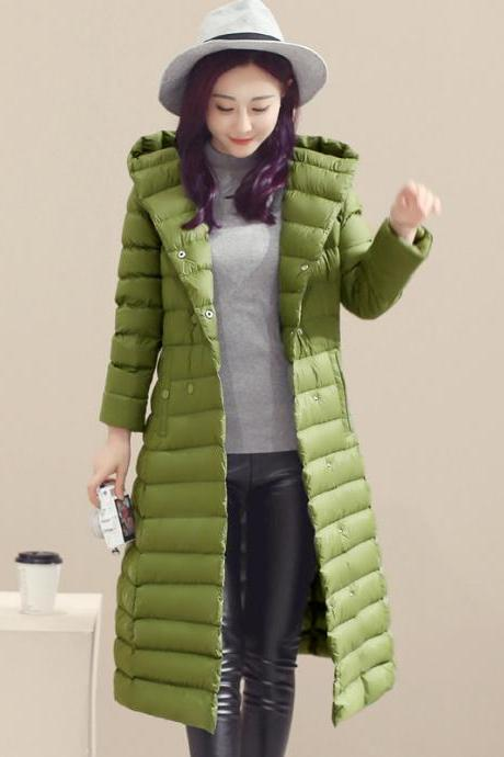 Women Long Duck Down Coat Hooded Long Sleeve Plus Size Slim Winter Ultra Light Jacket Outwear apple green