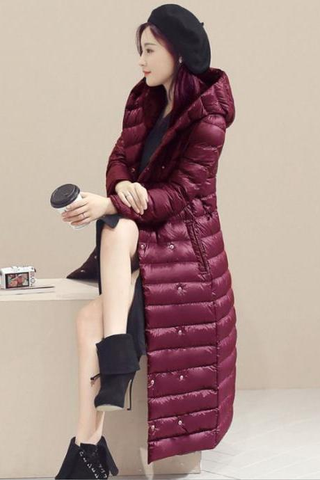Women Long Duck Down Coat Hooded Long Sleeve Plus Size Slim Winter Ultra Light Jacket Outwear burgundy
