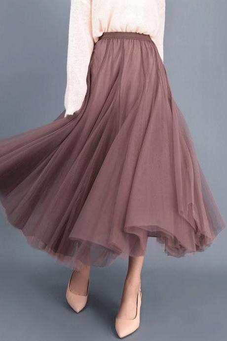 Women Long Tulle Mesh Skirt Elastic High Waist Streetwear Pleated Tutu A Line Maxi Skirt flesh red