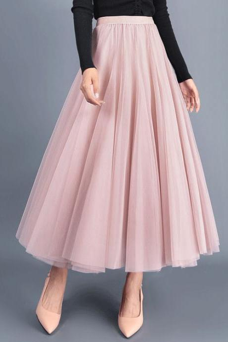 Women Long Tulle Mesh Skirt Elastic High Waist Streetwear Pleated Tutu A Line Maxi Skirt pink