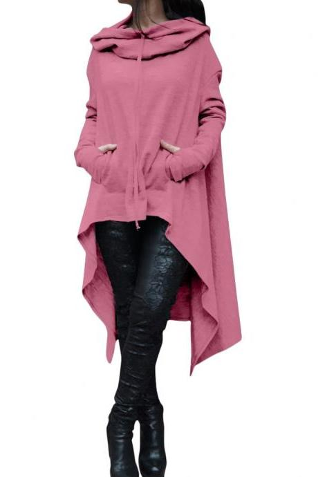 Women Asymmetric Hoodies Autumn Winter Long Sleeve Casual Loose Hooded Sweatshirt Plus Size Pullover Tops pink