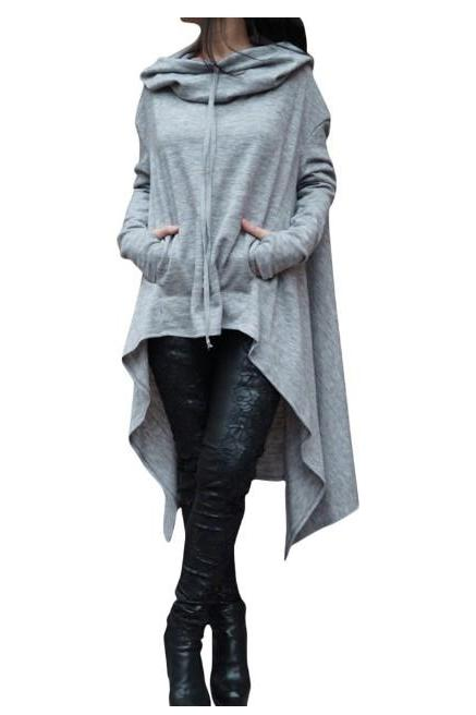 Women Asymmetric Hoodies Autumn Winter Long Sleeve Casual Loose Hooded Sweatshirt Plus Size Pullover Tops gray