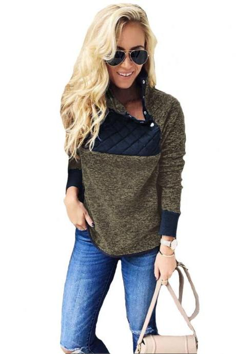 Women Sweatshirt Autumn Winter Covered Button Skew Collar Long Sleeve Casual Patchwork Warm Pullovers gray-green