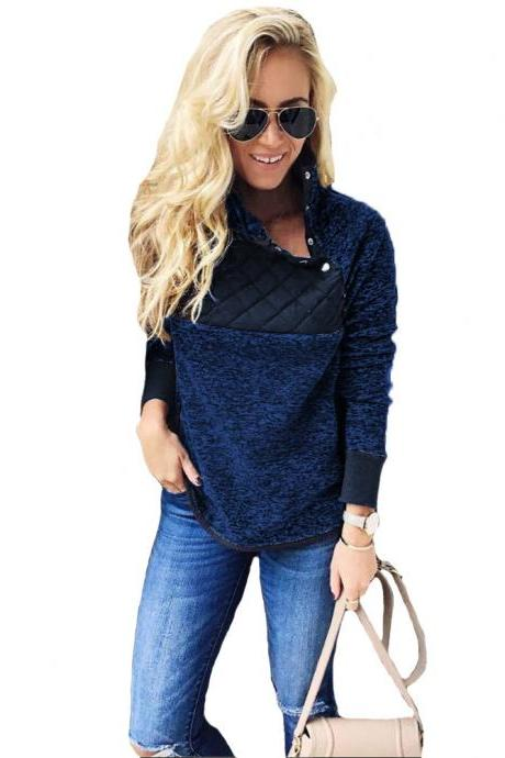 Women Sweatshirt Autumn Winter Covered Button Skew Collar Long Sleeve Casual Patchwork Warm Pullovers royal blue