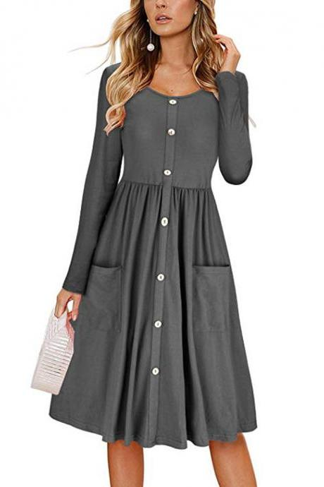 Women Casual Dress Autumn Button Long Sleeve Pockets Slim A Line Work Office Party Dress gray