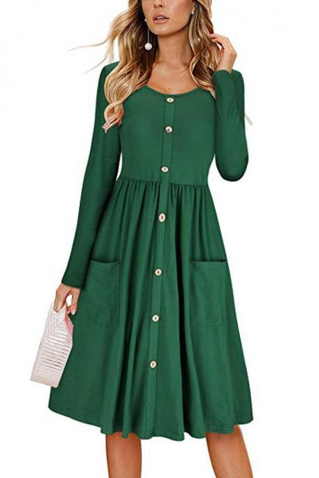 Women Casual Dress Autumn Button Long Sleeve Pockets Slim A Line Work Office Party Dress green