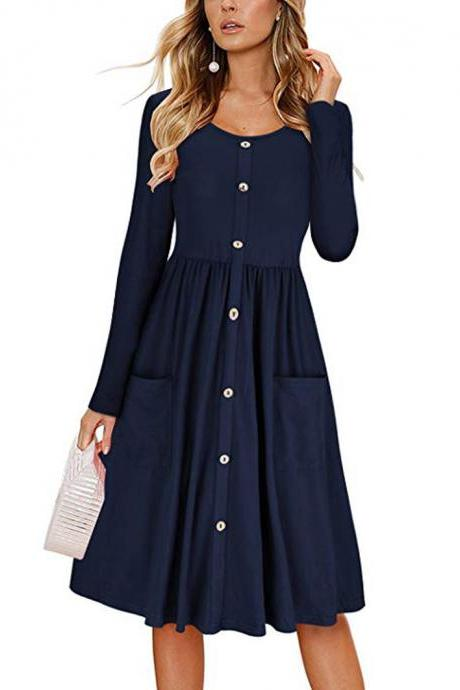 Women Casual Dress Autumn Button Long Sleeve Pockets Slim A Line Work Office Party Dress navy blue