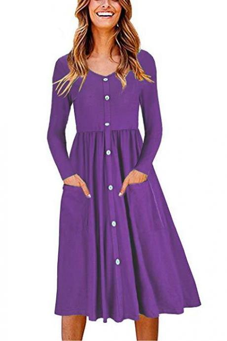 Women Casual Dress Autumn Button Long Sleeve Pockets Slim A Line Work Office Party Dress purple