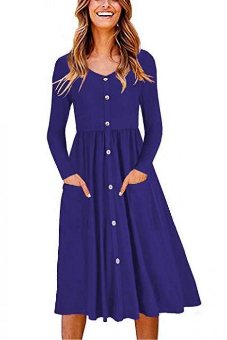 Women Casual Dress Autumn Button Long Sleeve Pockets Slim A Line Work Office Party Dress royal blue