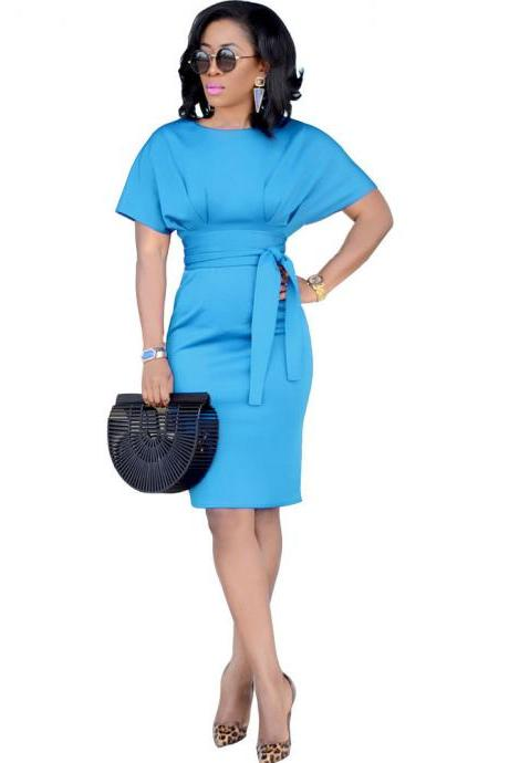 Women Pencil Dress Casual Short Sleeve Belted Bodycon Work Office Business Party Dress light blue