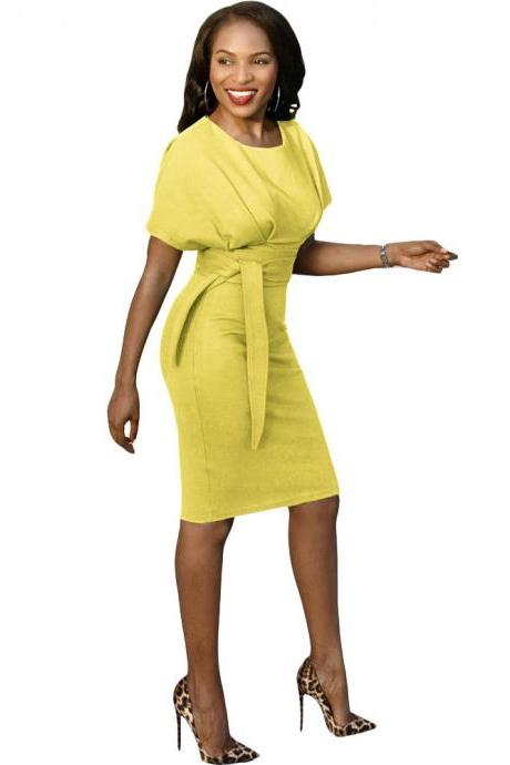 Women Pencil Dress Casual Short Sleeve Belted Bodycon Work Office Business Party Dress yellow