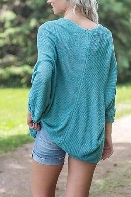 Women Knitted Cardigan Autumn Long Sleeve Solid Color Casual Loose Sweater Coat Jacket turquoise