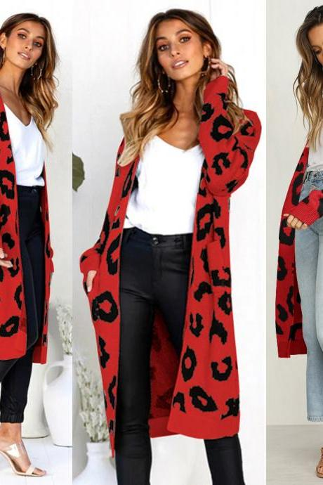 Women Long Knitted Cardigan Autumn Winter Long Sleeve Pocket Casual Streetwear Loose Sweater Coat red