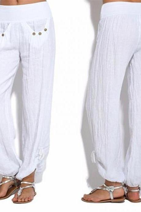 Women Casual Loose Harem Pants Button Low Waist Palazzo Plus Size Wide Leg Trousers off white