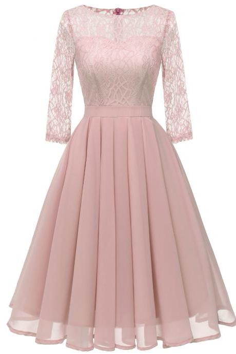 Women Casual Lace Patchwork Dress 3/4 Sleeve Work Office Slim A Line Bridesmaid Party Dress pink