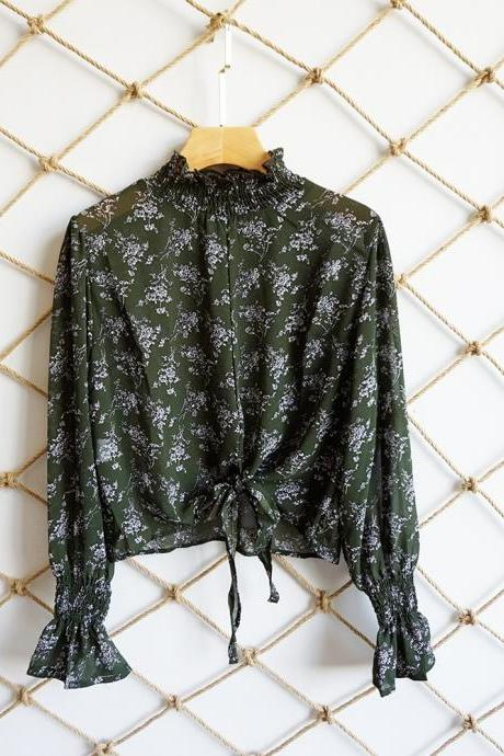 Women Floral Printed Crop Tops Transparent Casual Chiffon Lace Up Long Flare Sleeve Sheer Short Blouse green