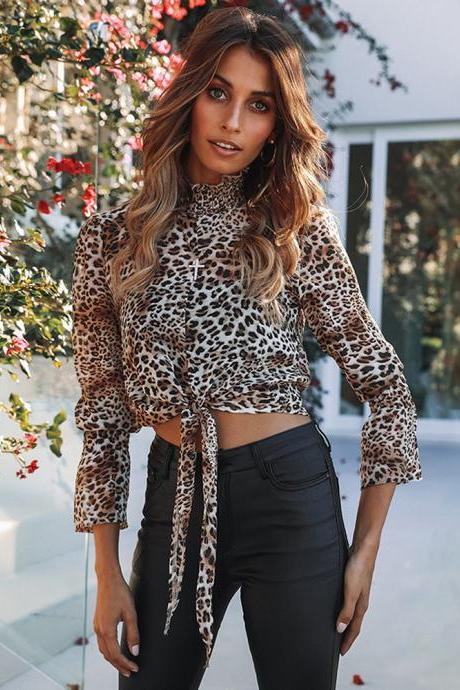 Women Floral Printed Crop Tops Transparent Casual Chiffon Lace Up Long Flare Sleeve Sheer Short Blouse leopard