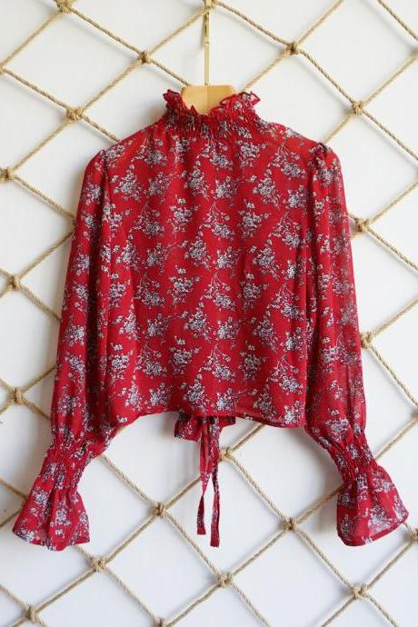 Women Floral Printed Crop Tops Transparent Casual Chiffon Lace Up Long Flare Sleeve Sheer Short Blouse red
