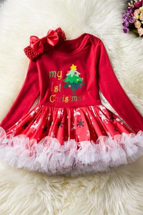 Toddler Kids Baby Girls Dress Long Sleeve Santa Claus Children Ball Gown Party Birthday Christmas Clothes 4#