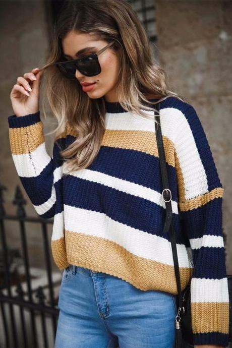 Women Knitted Sweater Autumn Winter Long Sleeve Casual Loose Striped Patchwork Pullover Tops earth yellow